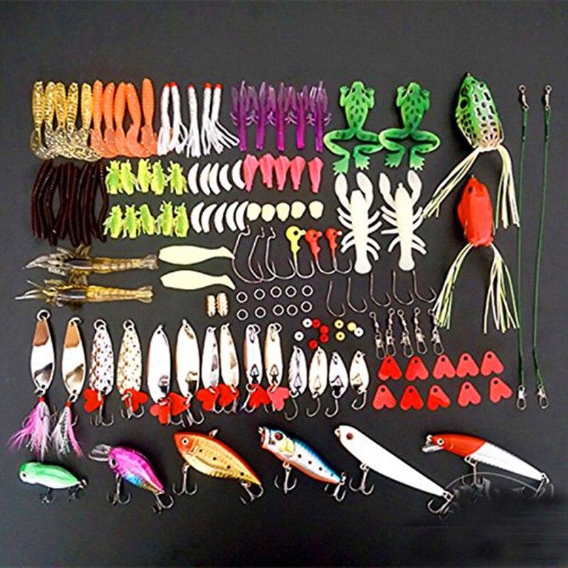 Kit de leurre de pêche, 139 pièces équipement de pêche appâts artificiels ensemble de leurres, pour eau salée eau douce bar truite saumon