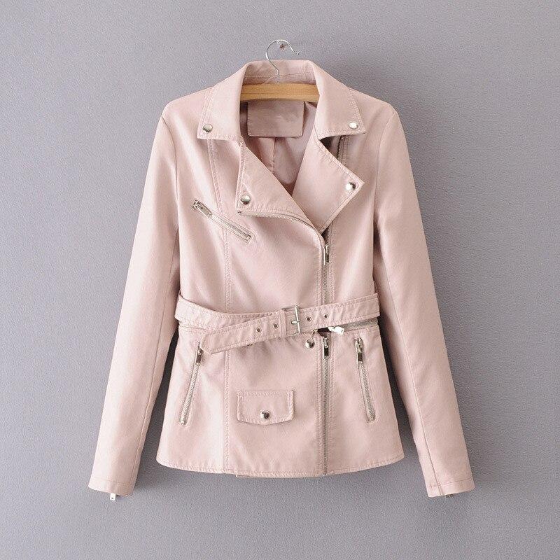 S XL Autumn 2018 women PU leather jackets short zipper rivet soft Faux leather coat lady