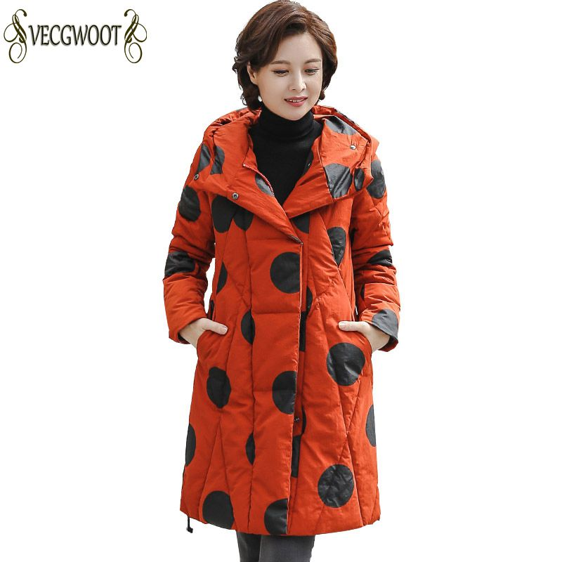 Winter Big Size Females Parkas Middle age 2019 Fashion New Women Cotton Jacket Loose Casual Coat
