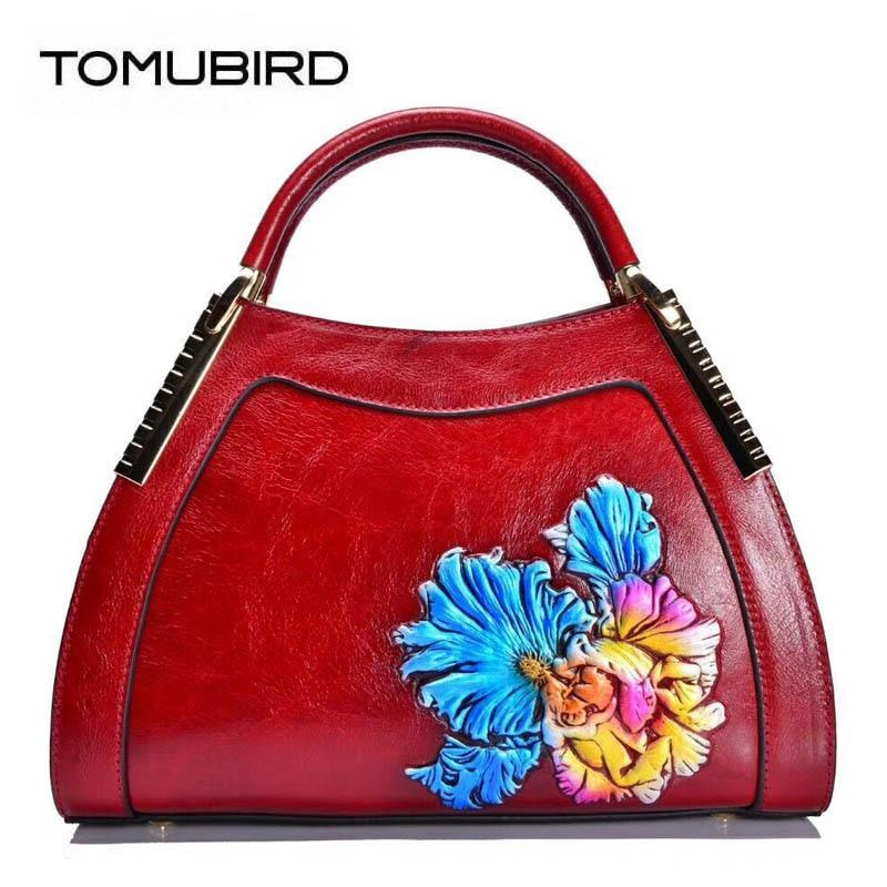TOMUBIRD 2018 new superior Cowhide Fashion art bag luxury handbags women bags designer women bag genuine leather handbags