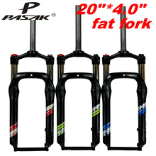 лучшая цена PASAK Snow MTB Moutain 20inch Bike Fork Fat bicycle Fork oil air gas Locking Suspension Forks Aluminium Alloy For 4.0