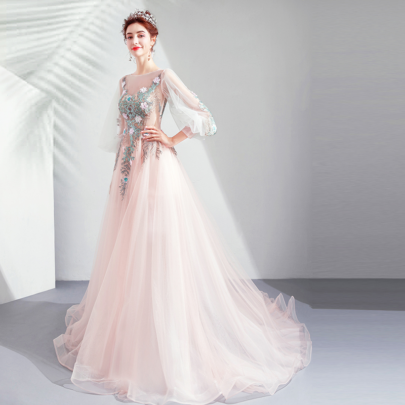 Light Pink Prom Dresses sukienki na bal Three Quarter Sleeves Floral Lace Appliques Long Formal Party Graduation Evening Gown