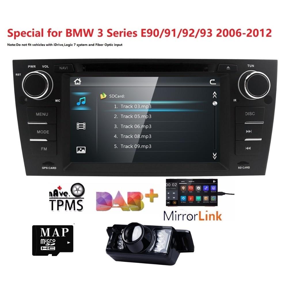 Voiture Autoradio lecteur dvd 1 Din Voiture GPS Navi pour BMW E90 E91 E92 E93 DAB + TPMS DTV Bluetooth Canbus cache de volant RDS RearCAM Carte