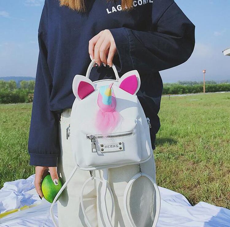 Inkjet Kreative Schulter los Teile Kontrast Rucksack Persönlichkeit Mode Tasche Frauen Farbe Einhorn Cartoon Kleine Passenden 50 WYzwAqn6A