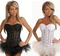 Sexy Corset Plastic Bone Corset   Bodice Including Chest Translucent Cup   Corset  Black and White Lace Corset Plus Size S-2XL