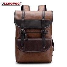 Купить с кэшбэком Men PU Leather Laptop Backpack Black Brown Vintage Ruchsack 15 inch Large Capacity Male Bagpack Waterproof Business Travel Bags