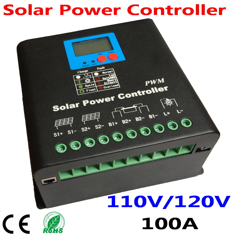 100A Solar Charge Controller 110V or 120V Battery Regulator 100A for 12KW PV Panels Modules LED
