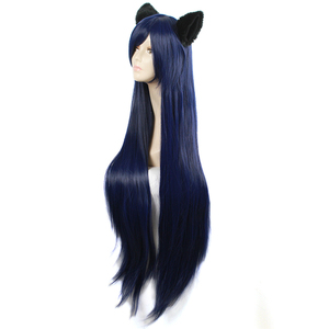 Image 2 - L email wig Game LOL Cosplay Wigs Ahri Character 100cm Dark Blue wig with Ears Heat Resistant Synthetic Hair Perucas Cosplay Wig