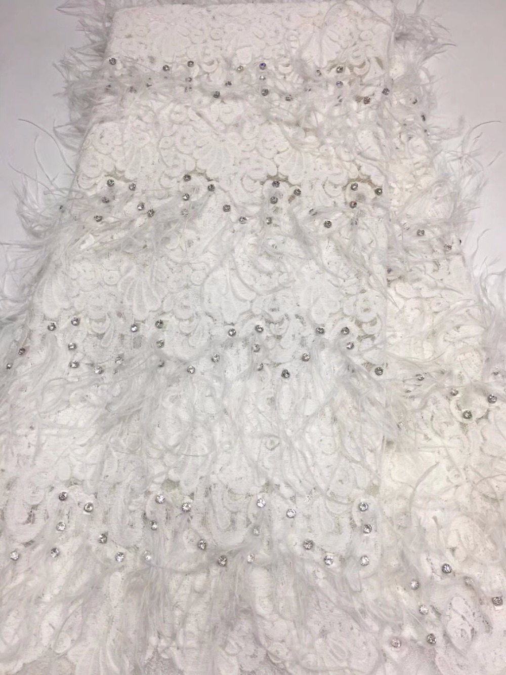 Fine Design feather Lace Fabric African Tulle Lace Fabric High High Quality Beaded Lace Embroidered African Dress