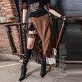 Retro Brown Steampunk Victorian Bustle Sexy Side Slit Ruffle Hem Striped Long Skirt for Ladies