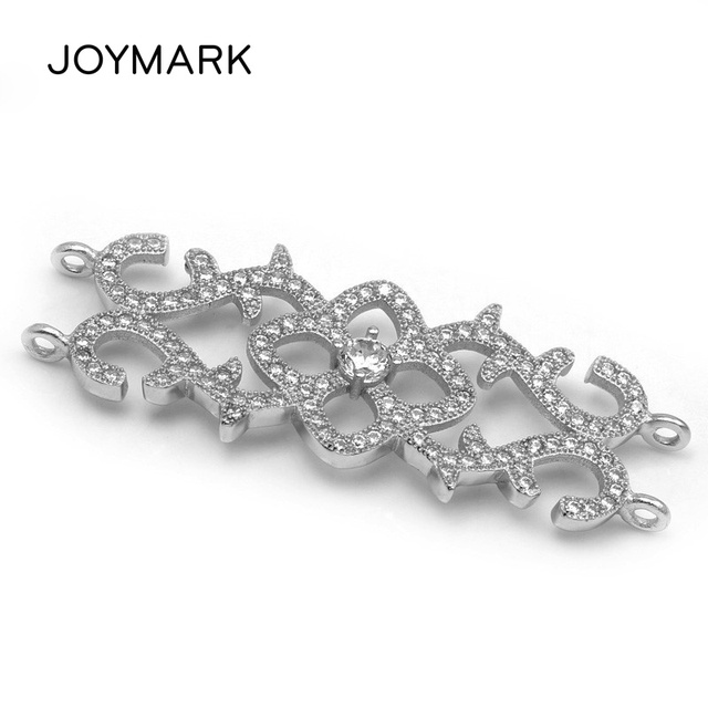 High Quality Double Row Retro Flower-shape 925 Sterling Silver Zircon Pave DIY Pearl Jewelry Charm Bar Connectors SLJQ-CZ004