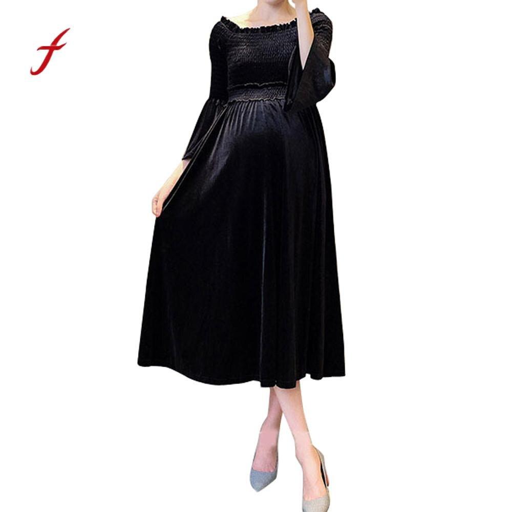 feitong USPS New Women Pregnants Sexy Baby For Maternity Off Shoulder Velvet Nursing Long Dress dress female robe sukienka