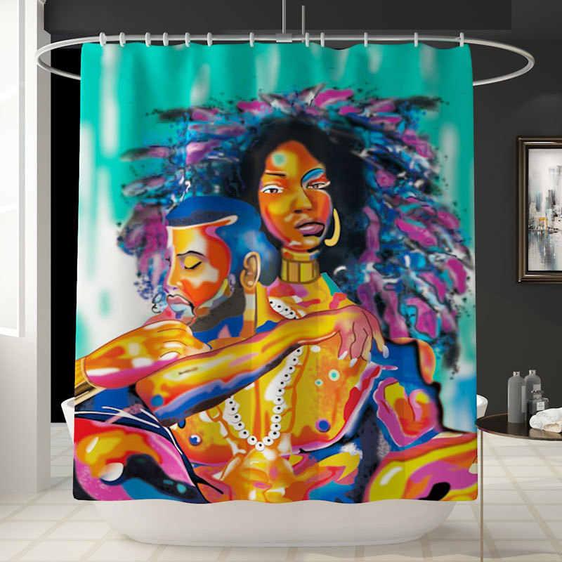 Afrika Erkek Kadın 4 adet/takım Duş Perde Ayaklı Kilim Kapağı, Tuvalet Kapak Mat Banyo Mat seti Banyo Perdeleri ile 12 Kanca