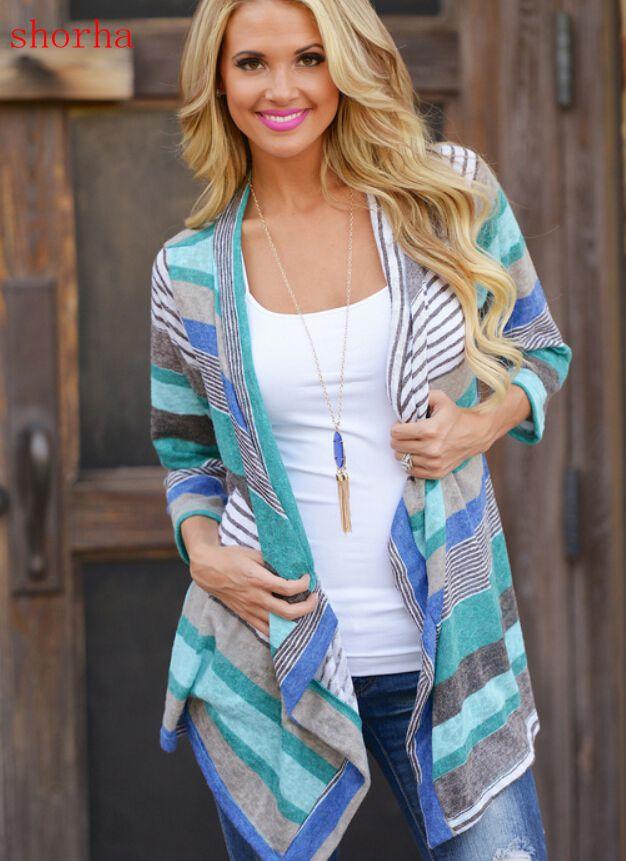 Women Fashion Maternity Clothes Autumn Contrast Color Stripes Cardigan Coat  Style Blouse For Pregnant Women