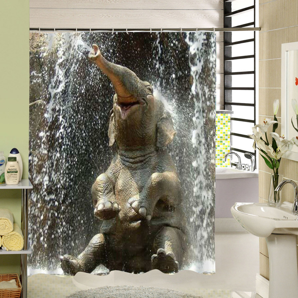 CHARMHOME Elephant Shower Curtain Polyester Printing