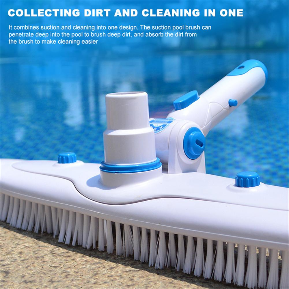 Swimming Pool Suction Vacuum Head Brush Cleaner Pool Supply Flexible Cleaner Pool Vacuum Head Clip Handle Cleaning Brush