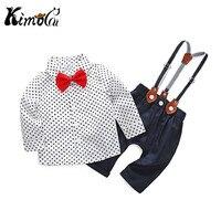 Kimocat Newborn Clothing Sets Spring Baby Boy Clothes O Neck Dots White Fashion Kid S Suit