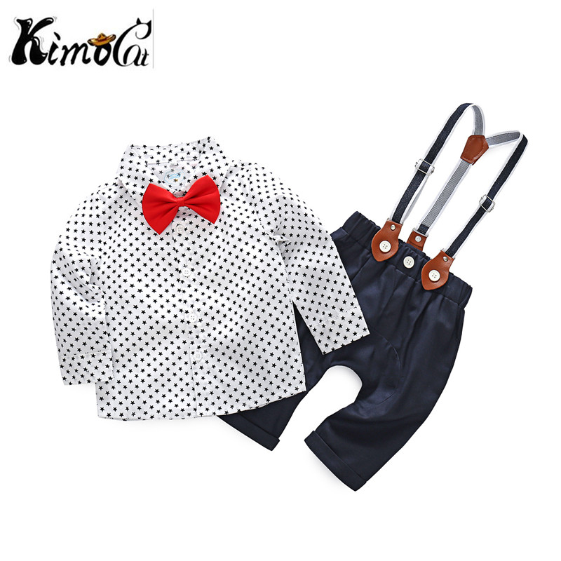 kimocat Newborn Clothing Sets Spring Baby Boy Clothes O-Neck Dots White Fashion Kids Suit Shirt + Braces Pants