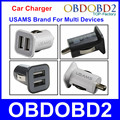 Universal Mini USAMS Car Charger USB Micro Auto Charger With Double USB Ports Supply Power For Multi USB Powered Devices