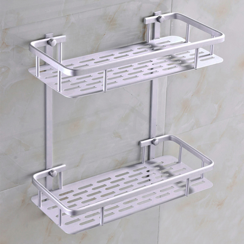 Dual Layer Bathroom Shelf Basket Kitchen Bathroom Shelf Wall Mounted ...