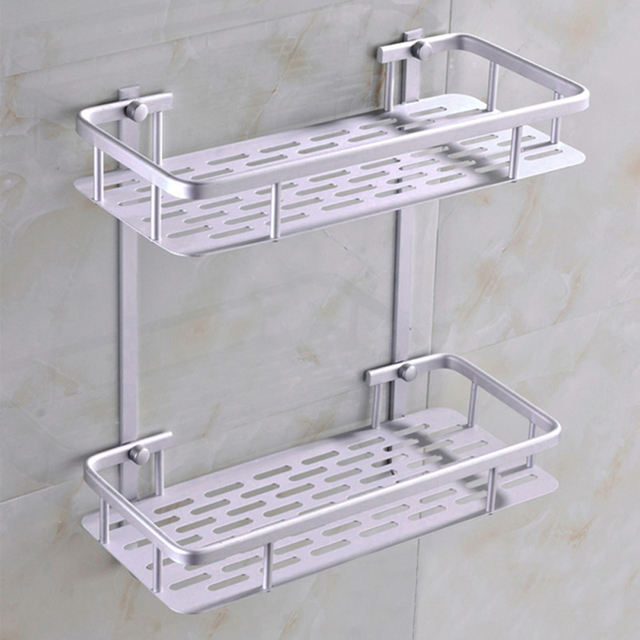 Fashion Dual Tier Bathroom Corner Shelf Basket Aluminum Alloy Kitchen Wall Mounted Shower Caddy Mug
