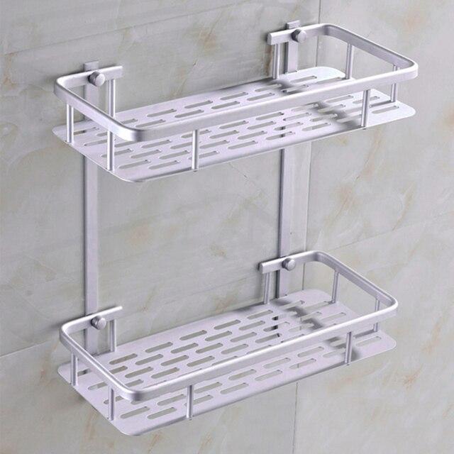 Moda Doppio Tier Bagno Mensola Angolare Carrello Lega di Alluminio ...