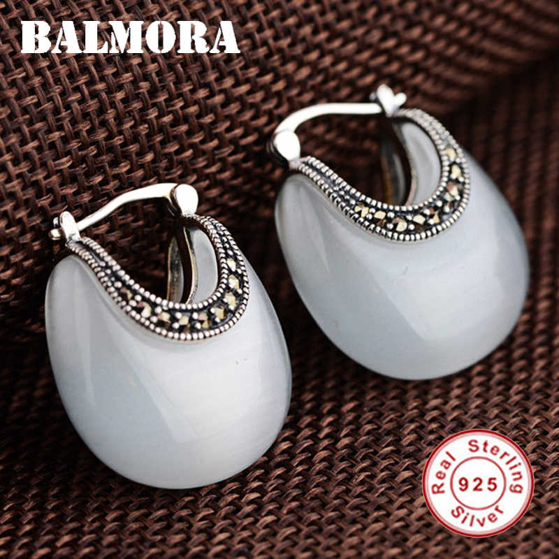 BALMORA Real 925 Sterling Silver Retro Moon Shape Opal Stud Earring for Women Lady Gift Elegant Ethnic Fashion Jewelry