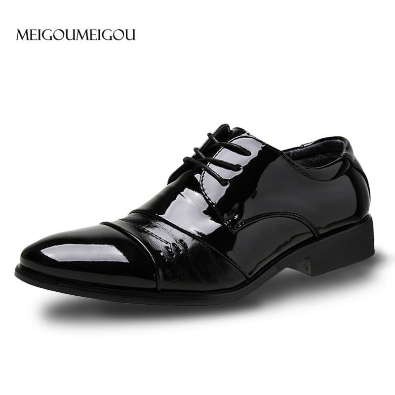 MEIGOUMEIGOU Men Leather Casual Shoes Luxurious Elite Dress Shoes Men Soft Leather And Hard Skin Stitching Business Shoes Men preppy men s suede casual shoes with color block and stitching design