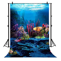 5x7ft Mermaid Under Sea Coral Party Polyester Photo Background Portrait Backdrop