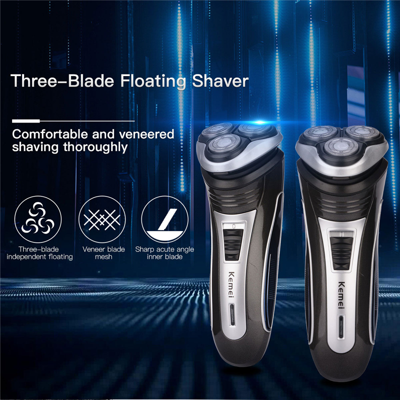 Kemei 3D Floating Head Electric Shaver Washable Rechargeable Men's Beard Razor Pop-up Trimmer for Moustache Sideburns Shaving lili intelligent electric shaver wet dry men personal care razor washable beard trimmer 3d floating rotary rechargeable razor