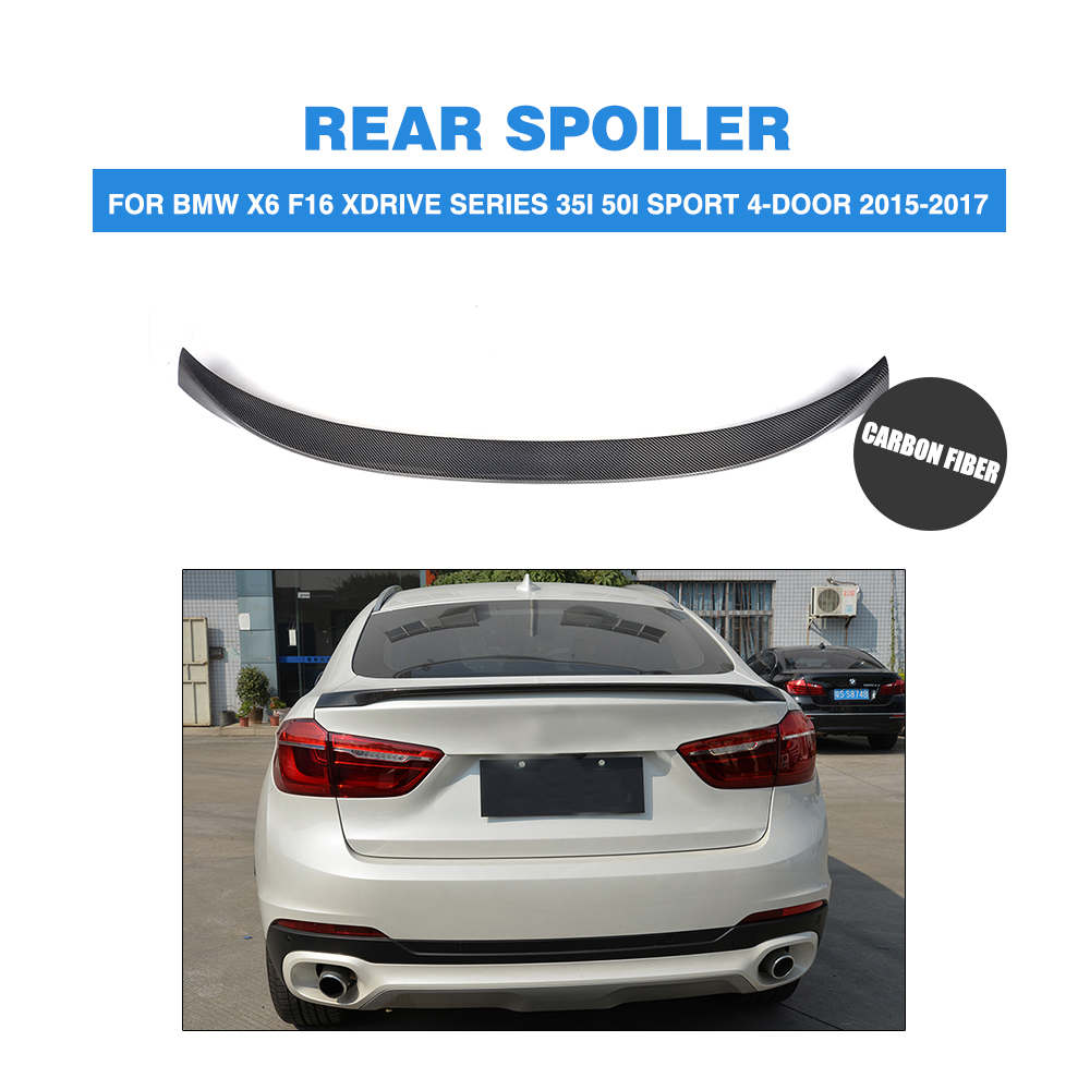 Carbon Fiber Rear Spoiler Trunk Boot Lip Wing for BMW X6 F16 xDrive Series SUV P Style 2015-2017 Car Styling FRP grey carbon fiber rear spoiler trunk boot wing for audi a7 s7 s line 2012 2015 jc style car tuning parts
