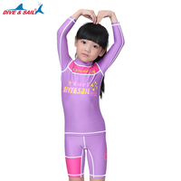 DIVE&SAIL LS-811 purple color Anti-Uv girls Swimming and Surfing Long Sleeve Rash Guard summer hot sell big promotion