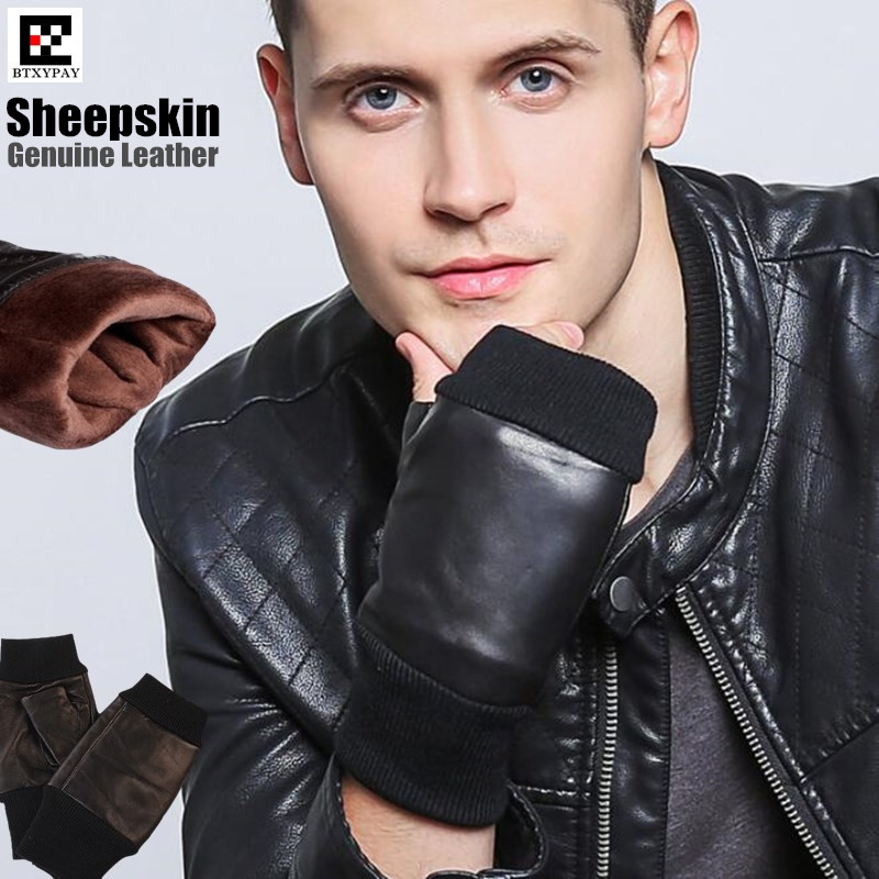100p High Quality  Men's Genuine Leather Sheepskin Gloves,100% Real Lambskin Gloves, Plus Velvet Threaded Fingerless Warm Gloves