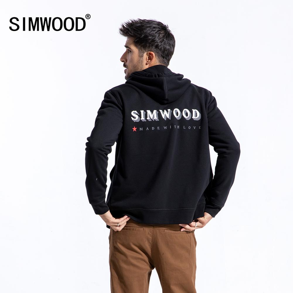 SIMWOOD 2020 Spring Hoodie Men Fashion Zip Up Hoodies Male High Quality Letter Print Casual Jacket 180510