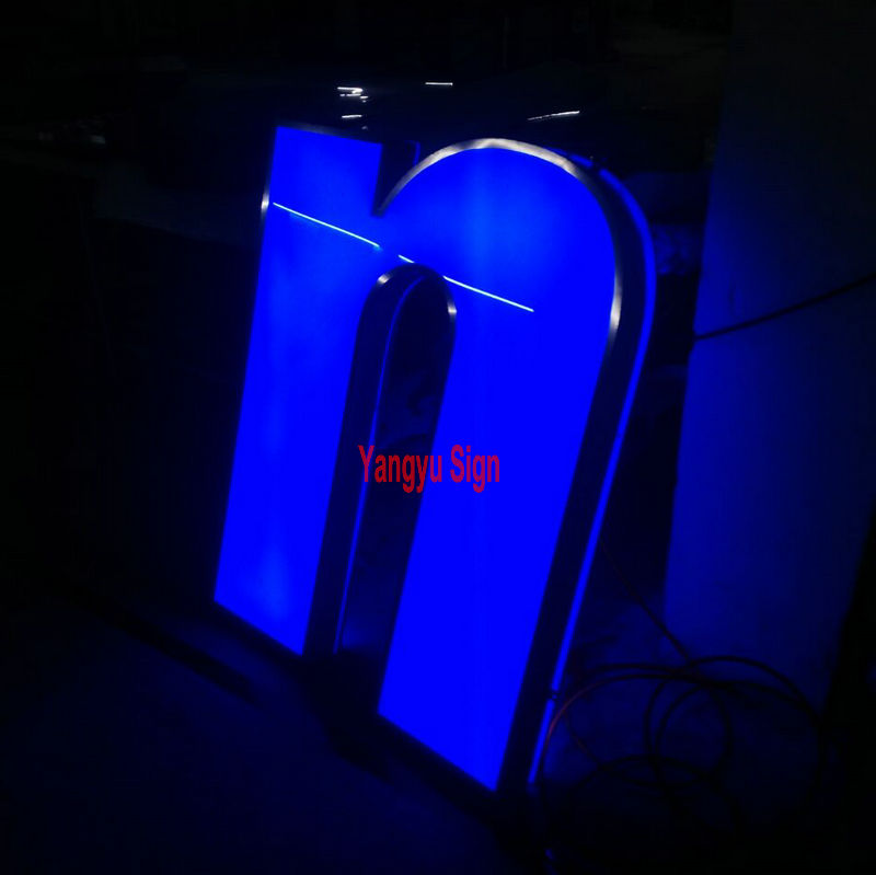 Custom acrylic RGB flashing front lit light box letters office wall sign