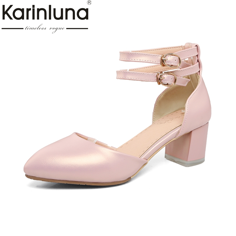 Karinluna 2018 Big Size 32-43 Hot Sale Ankle Strap Pointed Toe Women Shoes Woman Sandal Spring Summer Sandals Lady Footwear big size 31 47 spring autumn women shoes fashion pointed toe ankle strap flats beading decoration flat sandals zapatos mujer