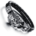 Wholesale New Fashion Vintage jewelry Stainless Steel Skull Bracelets Black Synthetic Leather Rope Hand Chain Men Bangles