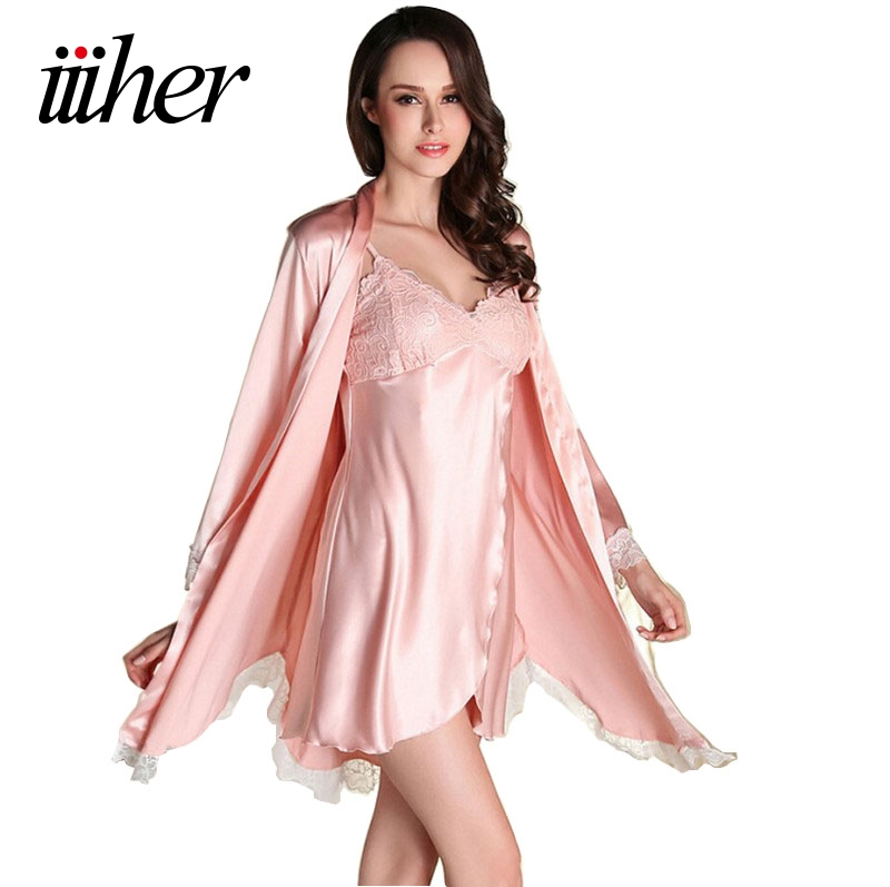 iiiher women silk satin night robe set solid kimono robe bath robe sexy bathrobe peignoir femme. Black Bedroom Furniture Sets. Home Design Ideas