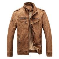 TUOLUNIU caliente marca de calidad de invierno los hombres chaqueta de la capa caliente de la chaqueta de cuero del ocio de los hombres ropa de la motocicleta chaqueta de cuero clásico