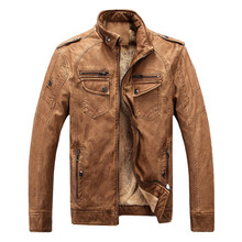 TUOLUNIU hot brand quality winter men's leather jacket warm velvet coat leisure men's jacket motorcycle classic leather jacket