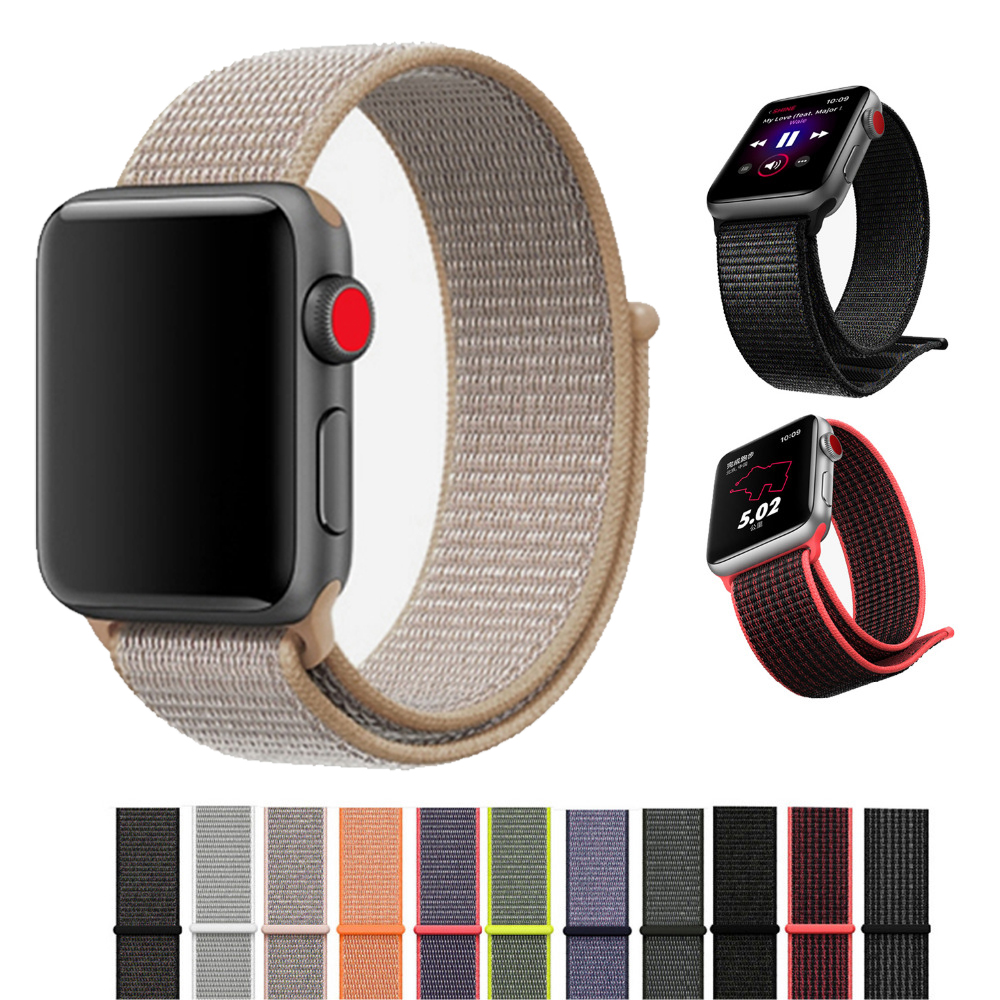 все цены на sport nylon loop strap for apple watch band 42mm 38mm iwatch 3/2/1 weave strap wrist bracelet watchband fabric-like clock band онлайн
