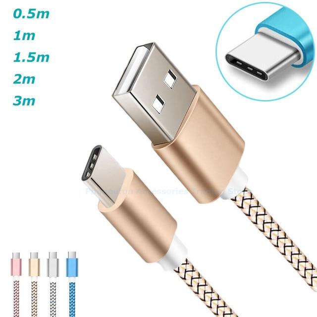 0,5 m/corto/1 m/1,5 m/2 m/200 cm/3 m/ 300 cm/largo USB-C 9 V 9 V/12 V de carga rápida Cable USB tipo-C para Galaxy S9 s8 A5/A3/2017/1,5/2/3 metros