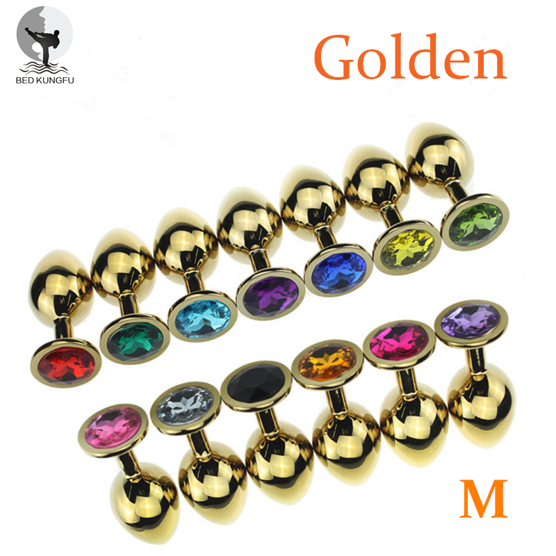 BED KUNGFU Golden M Anal Butt Plug 82mm 34mm Aluminum Alloy Anal Masturbator 90g Anal Suppository