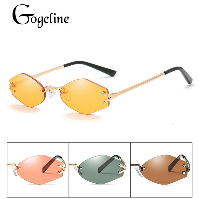 32283480d9 2018 Female Frameless Sunglasses Small Glasses for Women Brand Designer Shades  Sun Glasses Metal Frame UV400 red yellow tea lens