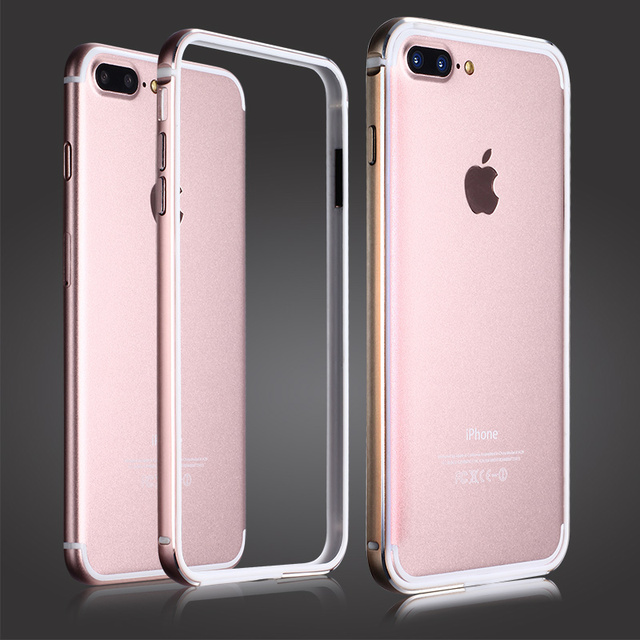 Para a apple iphone 7 bumper ultra fina moldura de alumínio do metal coque + Lado fino Silicone Macio Protetor Bumpe Para iPhone7 Fram 7 além de