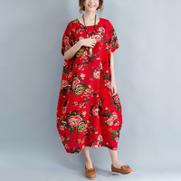 Women Casual Cotton And Linen Red Maxi Dress Flower Print Loose Style Plus Size Vintage China