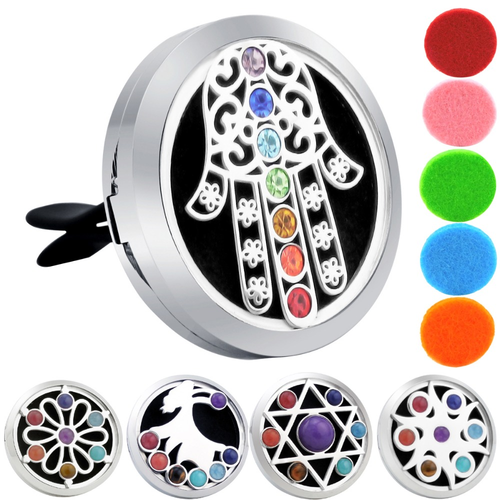 38mm Hamsa Chakra Car Diffuser Locket Magnet 316 Stainless Steel Aroma Free Pads Essential Oil Lockets