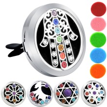 цены 38mm Hamsa Chakra Car Diffuser Locket Magnet 316 Stainless Steel Car Aroma Locket Free Pads Essential Oil Car Diffuser Lockets