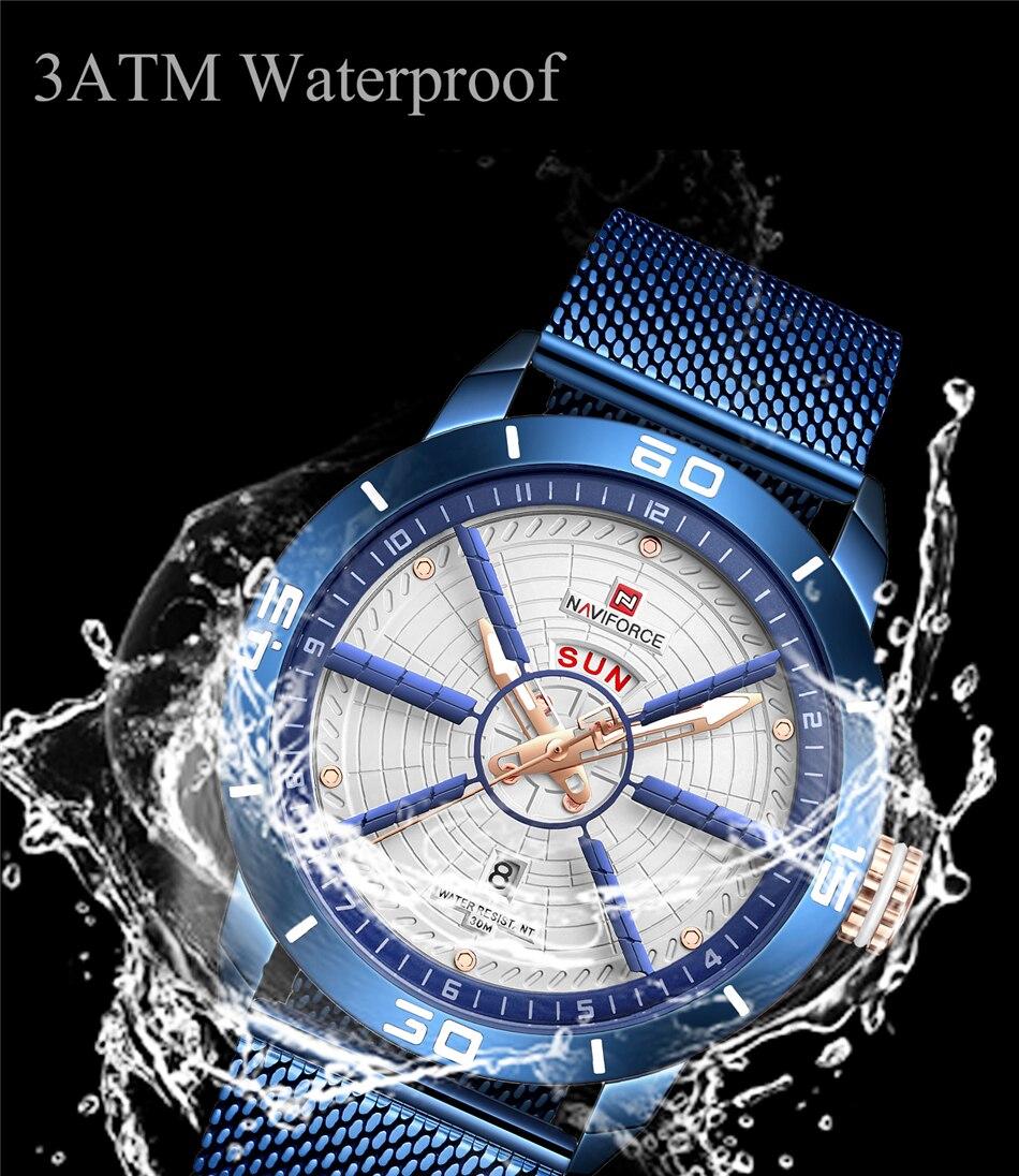 NAVIFORCE Mens Watches Top Brand Luxury Quartz Watch Men Full Steel Men Watch Sport Fashion Business Watches Relogio Masculino 16