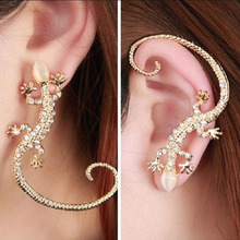 exaggerated gecko lizard punk ear cuff clip on earrings for women brinco earcuff pendientes de clip pierced ears fashion jewelry